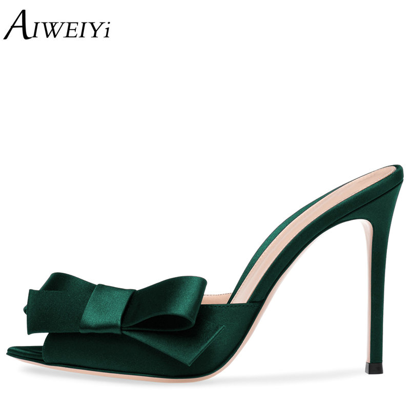 AIWEIYi Women's Satin Heeled Mules Shoes Sexy Summer Slippers Sweet Bow Tie Slip On High Heel Sandals Flip Flops Gladiator Shoes women gladiator sandals gold chains slip on high heel slippers shoes