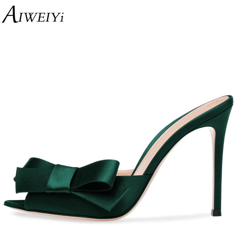 AIWEIYi Women's Satin Heeled Mules Shoes Sexy Summer Slippers Sweet Bow Tie Slip On High Heel Sandals Flip Flops Gladiator Shoes эрго рюкзак хипсит pognae понье no5 plus mocha мокка