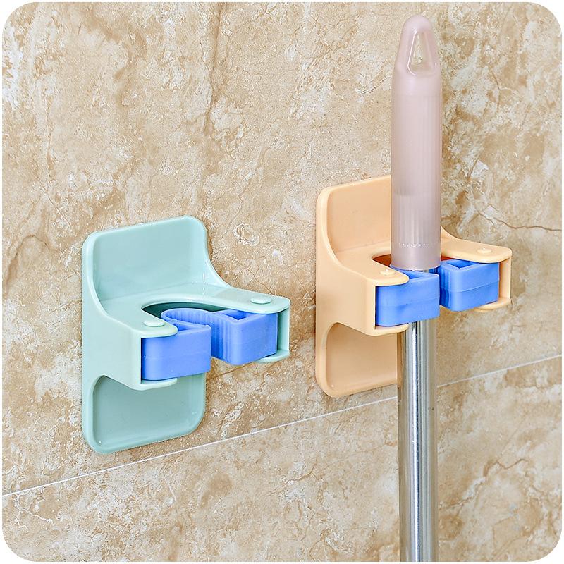 MOM'S HAND 2pcs/lot Home Clip Mop Hooks No Trace Mop Holder Bathroom Rack 8