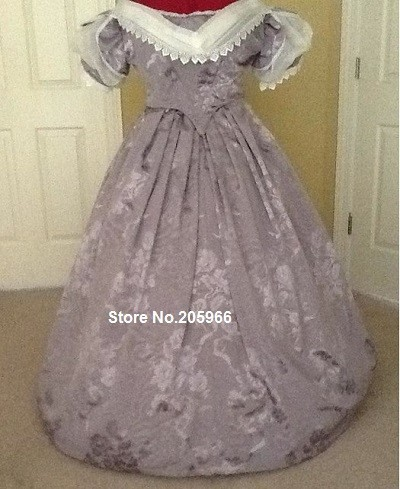 Custom Made 1846s Lavender Jacquard Victorian Period Ball Gown&Bridal Gown/Vintage Dress/Holiday Dress