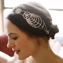 Hechos a mano de plata de lujo Tiaras nupciales coronas Head piezas banda Crystal Rhinestone oro de la cadena de la boda diademas mujeres de la joyería