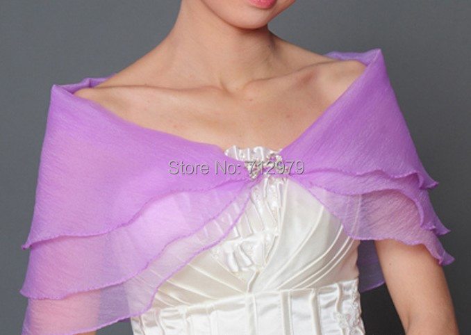 light purple Wedding Shawl Bridal Seersucker Shrug Bolero Coat Wrap Scarf wraps - ABC Dress store