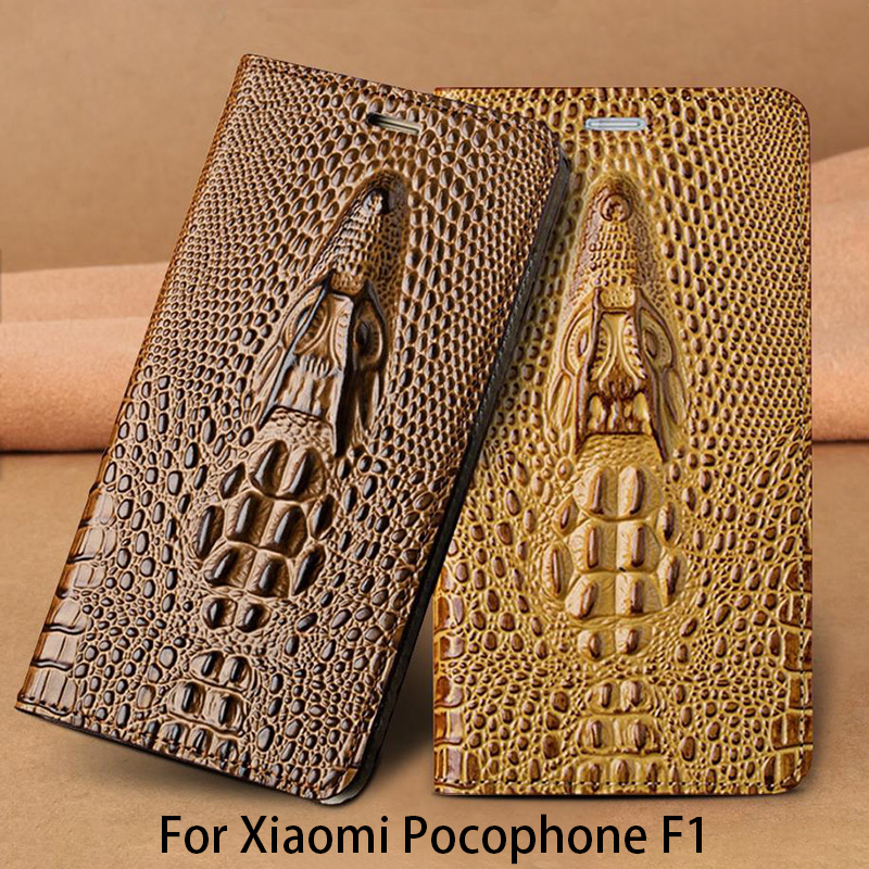 Dragon head Flip Phone Case For Xiaomi Pocophone F1 Case For A1 A2 Lite Max 2 3 Mix2s for Redmi Note 5 Genuine Leather Cover