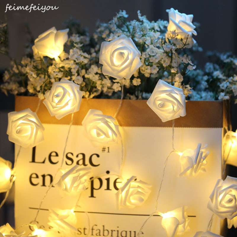 2019 Bedste Gave LED Rose Flower LED String Lights Batteri Operated Event Jul Bryllup Fødselsdag Decoration Lighting
