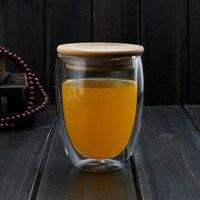 11 8fl Oz 350ml Heat Resisting Glass Double Wall Wine Water Mug W Egg Body Lid