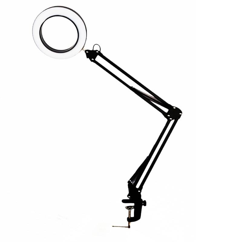 LED 5X 拡大鏡テーブルデスク拡大鏡ランプ無段階調光スイングアームクリップ修理美容スキンケアマニキュアネイルタトゥーサロン  グループ上の ライト & 照明 からの デスクランプ の中 1