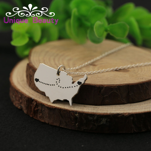 5489269eda29f US $25.0  Wholesale Silver American Map Necklace with 2 Hearts Engraved  Love Distance Pendent Custom USA Neckalce Personalized BFF Jewelry-in  Pendant ...