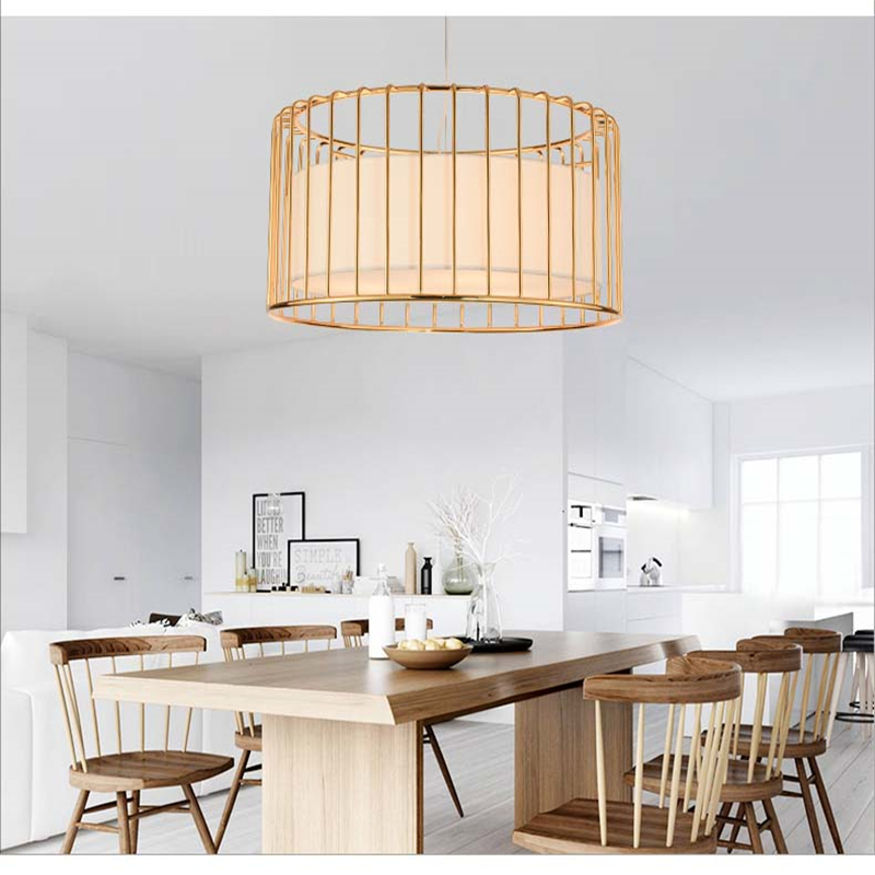 Plating Iron Birdcage Pendant Light Creative Personality Art Deco Suspension Lamp Dining Room Bedroom Living Room Hanging Lamp
