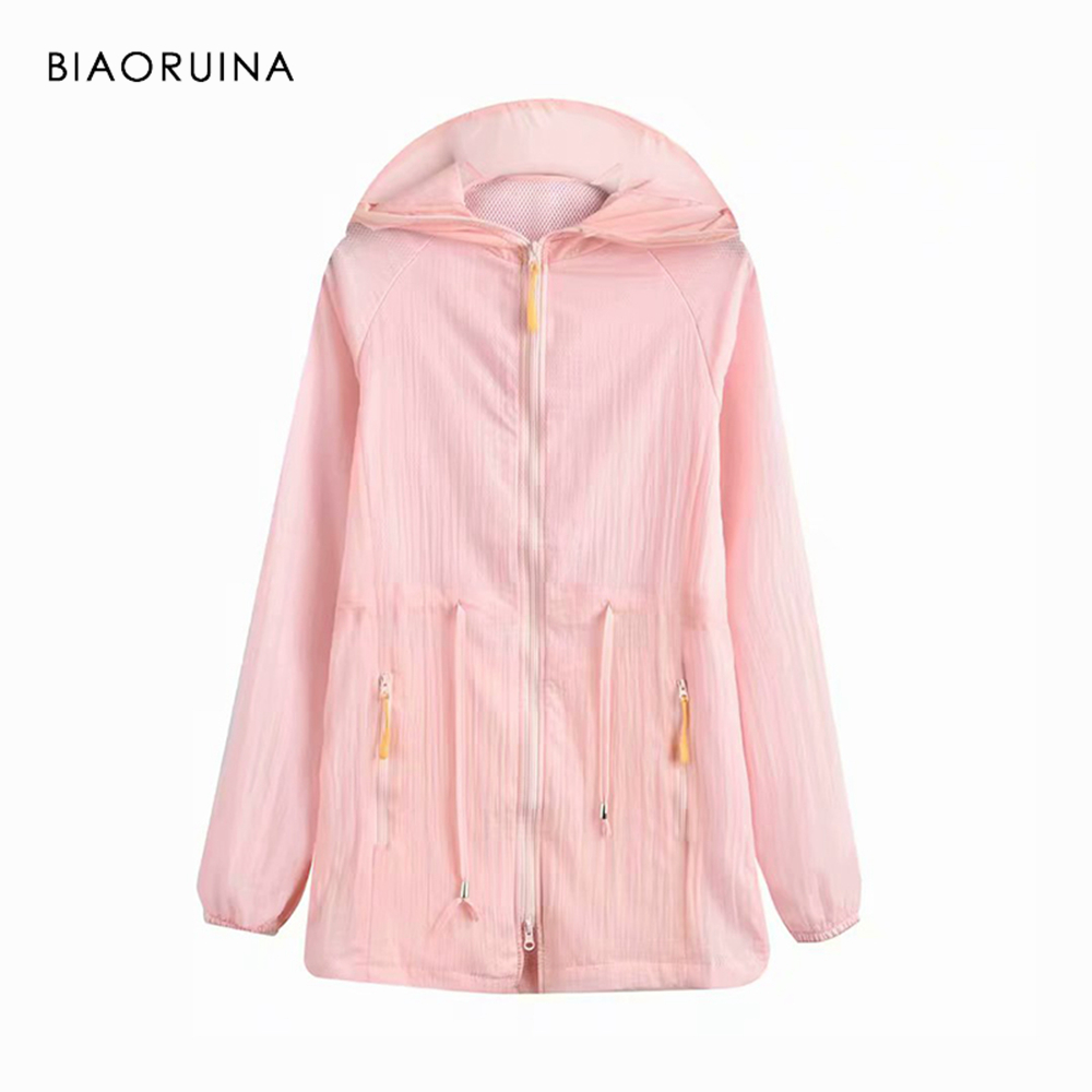 BIAORUINA Women Summer Sunscreen Hooded Coat   Trench   Female Casual Solid Breathable Outerwear Women's Fashion All-match Outerwear