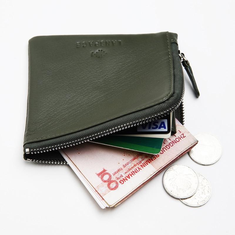 LANSPACE män plånböcker handgjorda myntpåsar hållare märke casual dragkedja handväska