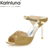 1e4621db93 KarinLuna 31-43 Perfeita Qualidade de Grande Porte Fino Mulas de Salto Alto  Verão Bombas Sapatos Sapatos de Festa Sexy Bling Do .