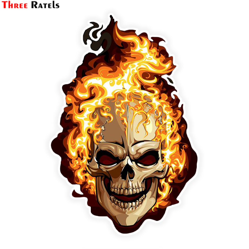 Three Ratels LCS283# 10.8x16cm Fire Skull Colorful Car  Sticker Funny Car Stickers Styling Removable Decal