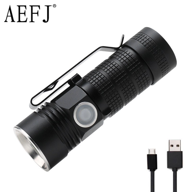 Mini LED Flashlight XPL V6 USB Rechargeable 16340 Torches Lighting