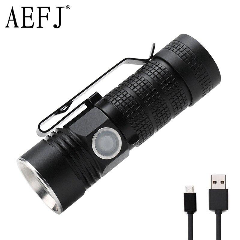 Mini LED Flashlight XPL V6 USB Rechargeable 16340 Torches Lighting