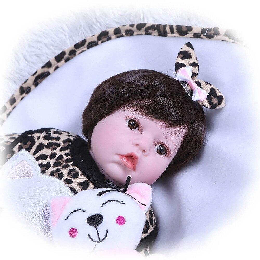 Nicery 20 22 pouces 50 55 cm Bebe Reborn poupée souple Silicone garçon fille jouet Reborn bébé poupée cadeau pour enfants rose chat poupée - 3