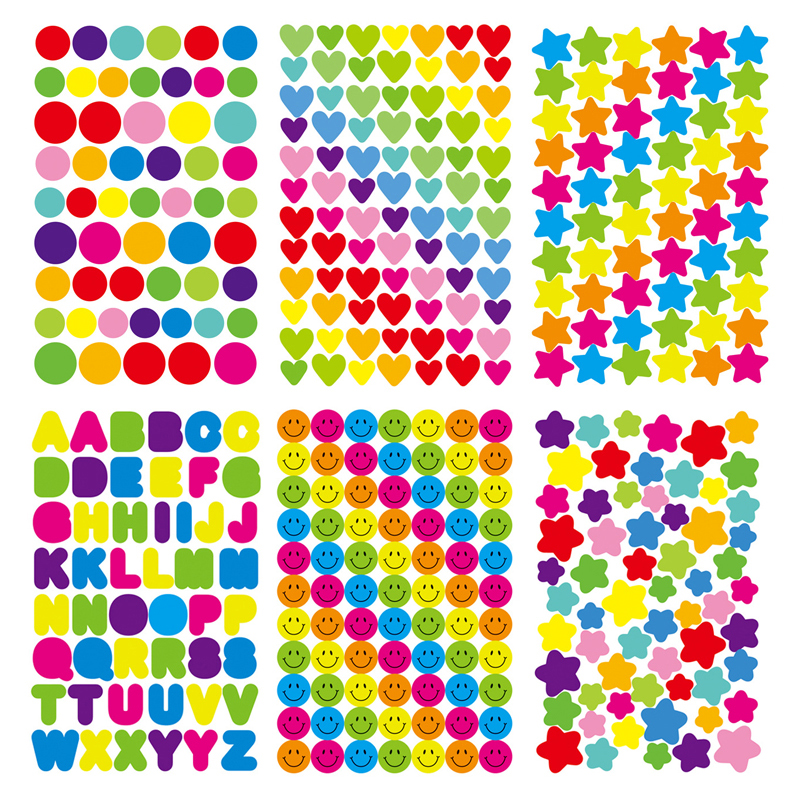 UainCube 6PCS/set Paper Stickers Circular/Pentagram/Letter/Heart-shaped/Smiley Face For Children Diary Decoration