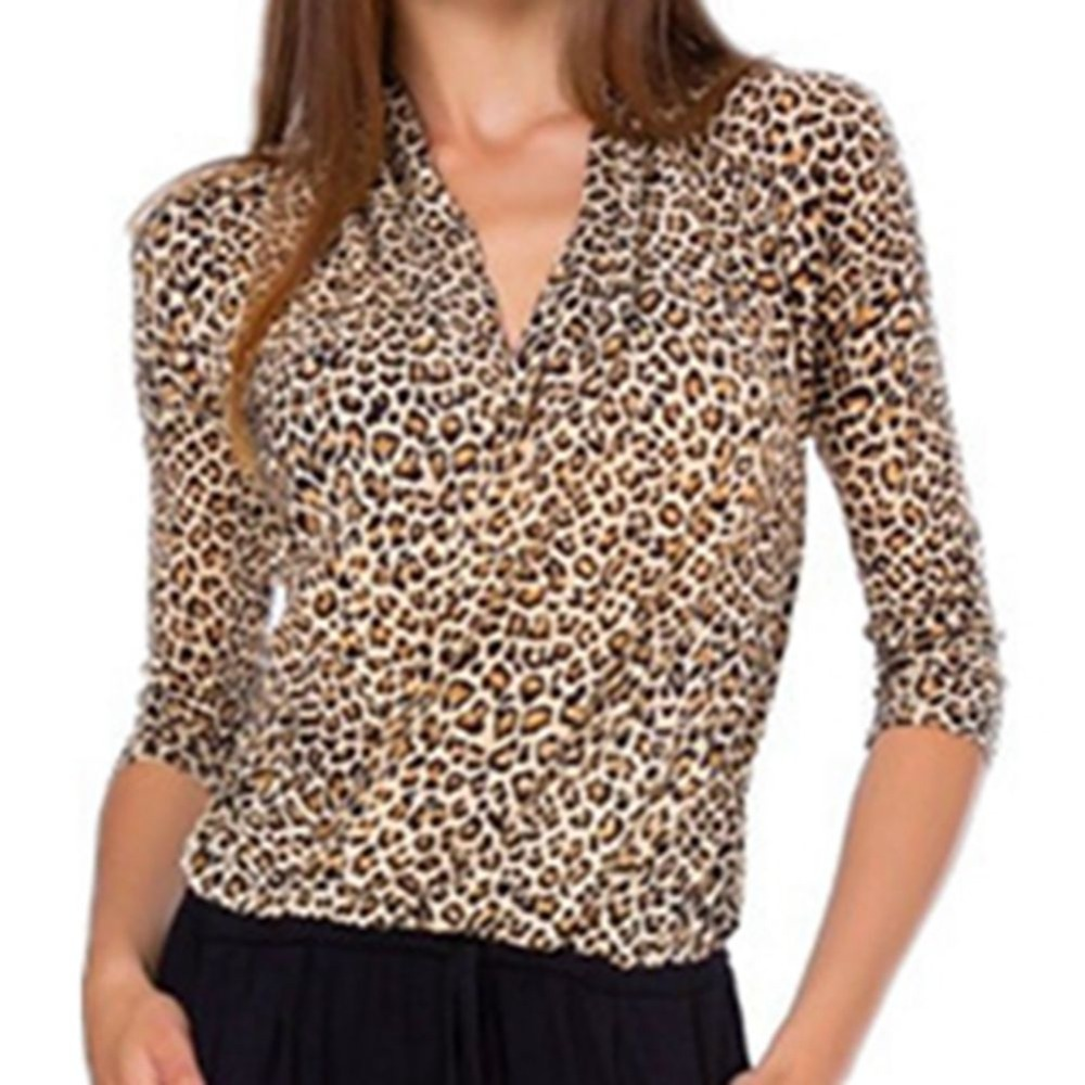 Vintage Leopard Print Shirts Sexy V Neck Long Sleeve Women Blouse Women Tops and Blouses Loose Blusa Feminina Casual Tops 2019 in Blouses amp Shirts from Women 39 s Clothing