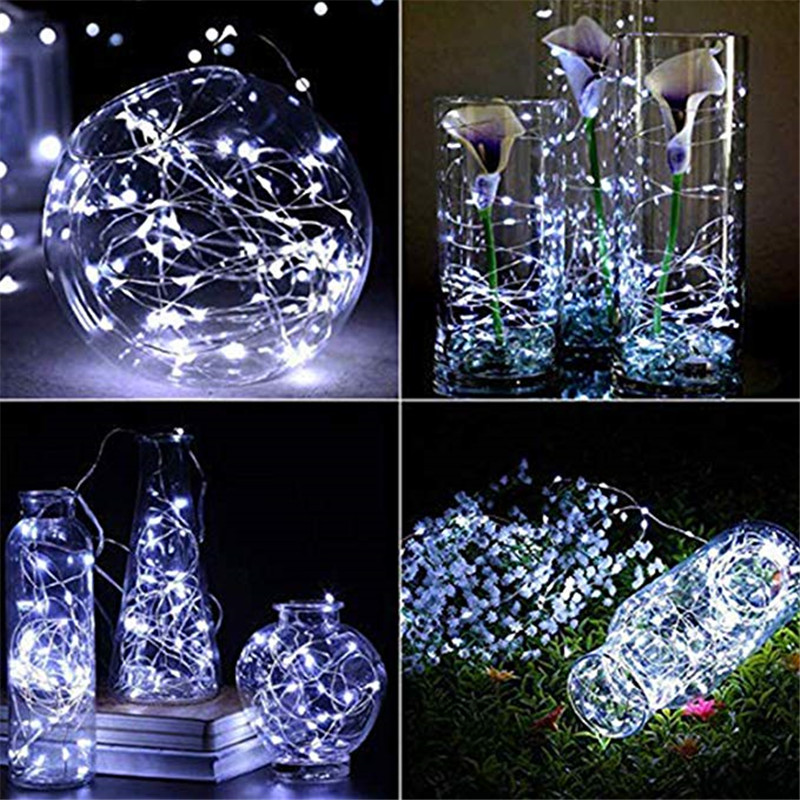 1M 2M 5M Garland Decorative Light Copper Wire CR2032 Battery Operated Christmas Wedding Party Decoration LED String Fairy Lights in LED String from Lights Lighting
