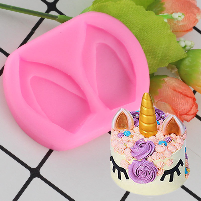 Mujiang Baby Birthday 3D Unicorn Ears Silicone Mold Unicornio Fondant Candy Chocolate Fimo Clay Mould Cake Decorating Tools