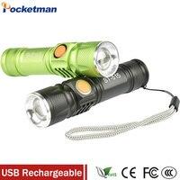Portable Light Mini USB Flashlight CREE XM L T6 LED Torch Rechargeable 18650 Built In Battery