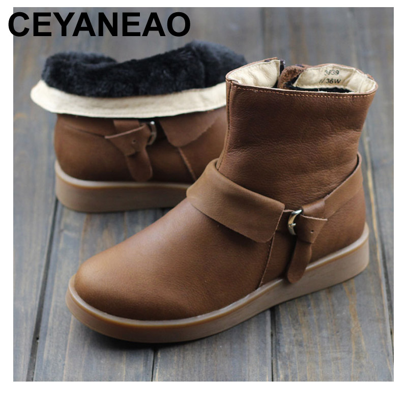Здесь продается  CEYANEAO  100% Genuine Leather Ladies Ankle Boots Plush Winter Shoes Slip Resistant Rubber Sole Female Footwear (3639)  Обувь