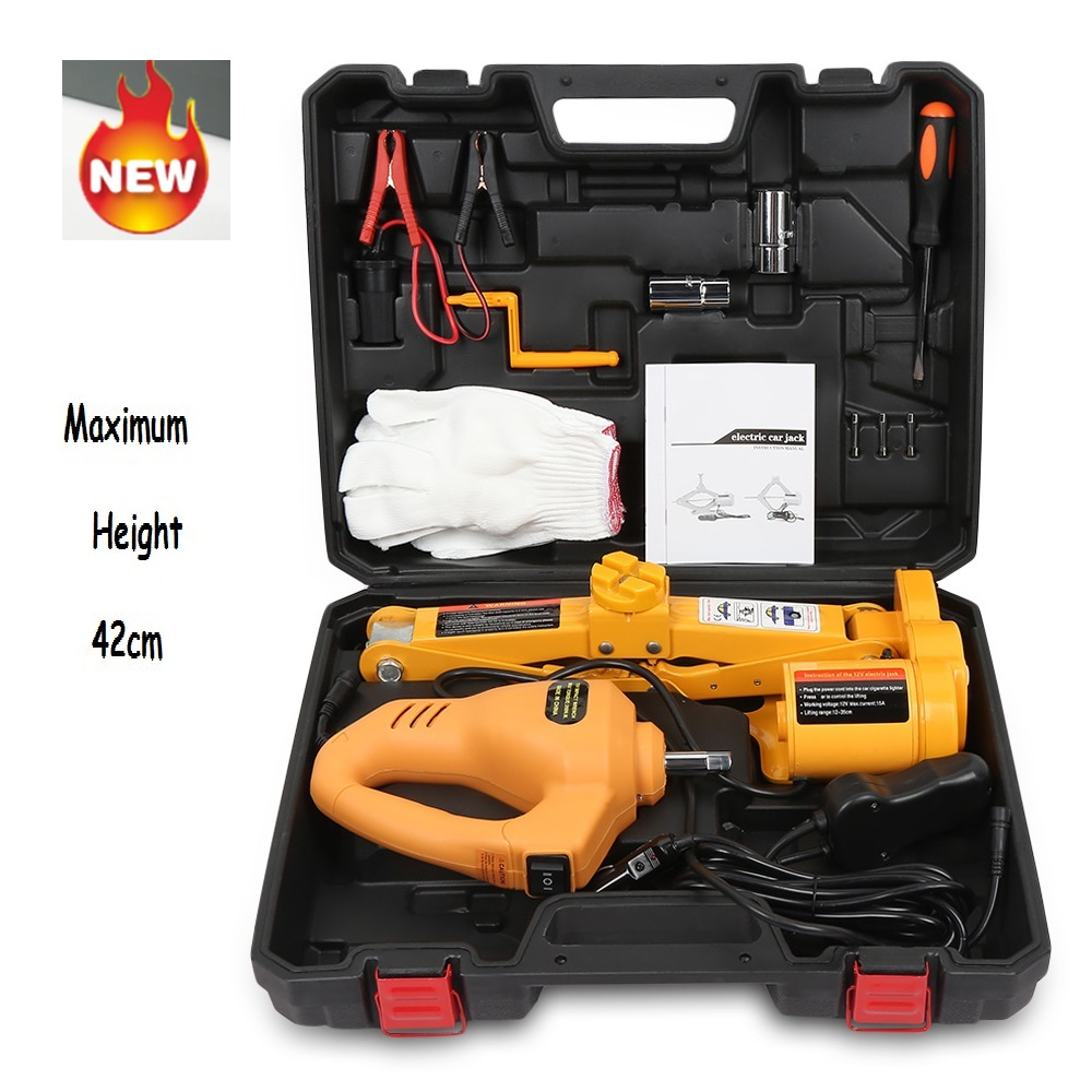 12V Car Electric Hydraulic Floor Jack Lifting Set Impact Wrench Tool Built in Flash LED Light for Emergency Tire Repair