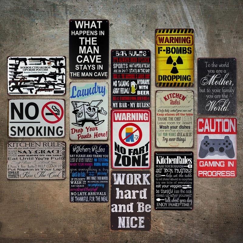 Предупреждение правила Стиль Олово Вход картина бар паб кафе магазин отель Office для дома Настенный декор из металла плакат