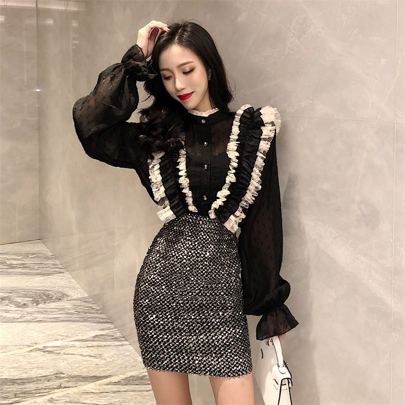 Women Turtleneck Patchwork Lace Ruffles Blouses Shirts Female Full Flare Sleeve Chic Chiffon Tops Blouses For Girls GT674