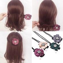 M MISM mujeres Rhinestone perla Donut moño hacer cuentas de cristal brillante rizador rulo Vintage estilo de pelo que hace las herramientas Accesorios