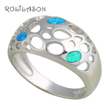 Cool style design Blue fire Opal Silver Stamped Rings fashion jewelry USA size #6.5 #6.75 #7.5 #7.75 OR452 hot selling