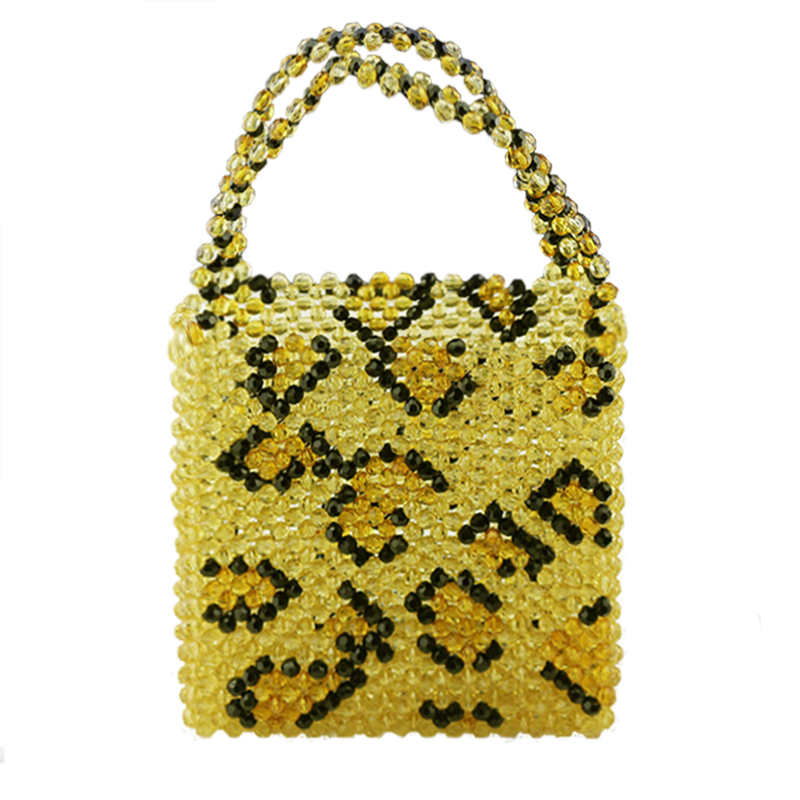 Leopard Pearl Beaded Bag Female Handmade Acrylic Transparent Handbag bags for women 2018 New Fashion