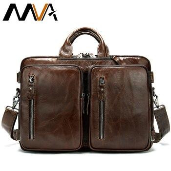 f4c995e50530 MVA сумка для мужчин пояса из натуральной кожи портфель, плечевая сумка  большой ёмкость Винтаж Ноутбук Сумки 432