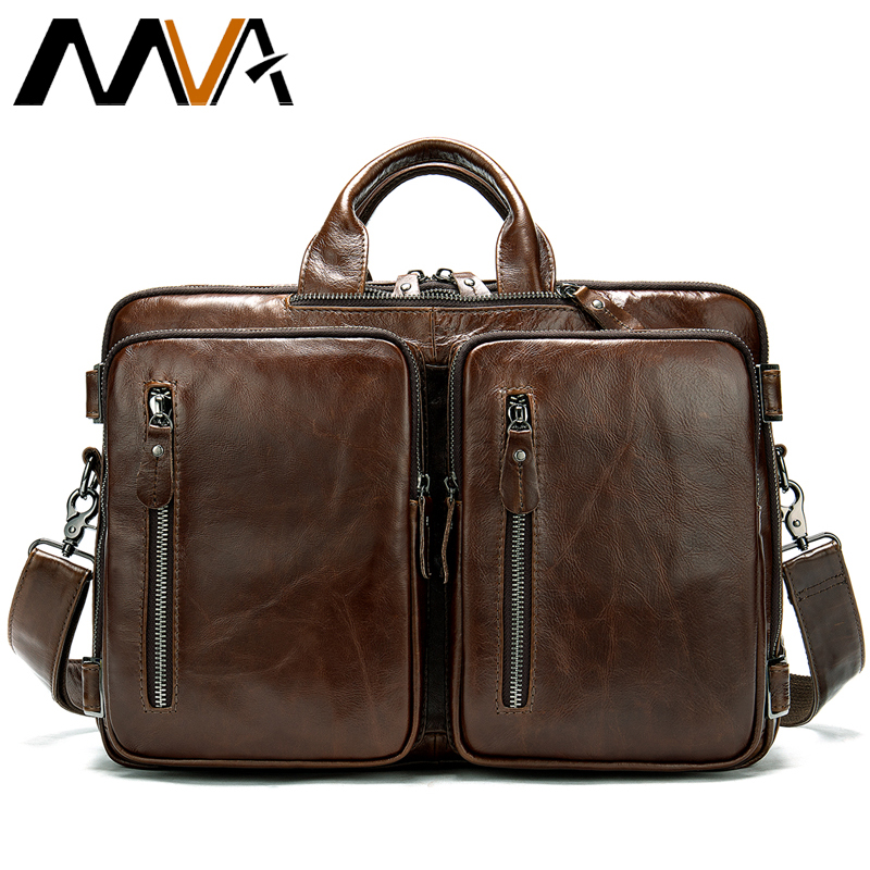 MVA Messenger Bag Men Genuine Leather Briefcase Messenger Bag Men's Shoulder Bag Large Capacity Vintage Computer Laptop Bags 432