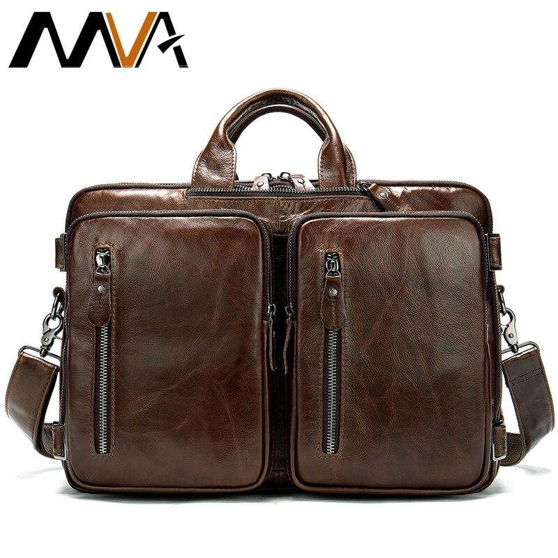 Bagaj ve Çantalar'ten Evrak Çantaları'de MVA omuz çantası erkekler Hakiki Deri Evrak Çantası omuz çantası erkekler erkek omuzdan askili çanta Büyük Kapasiteli Vintage Bilgisayar Laptop Çantaları 432'da  Grup 1
