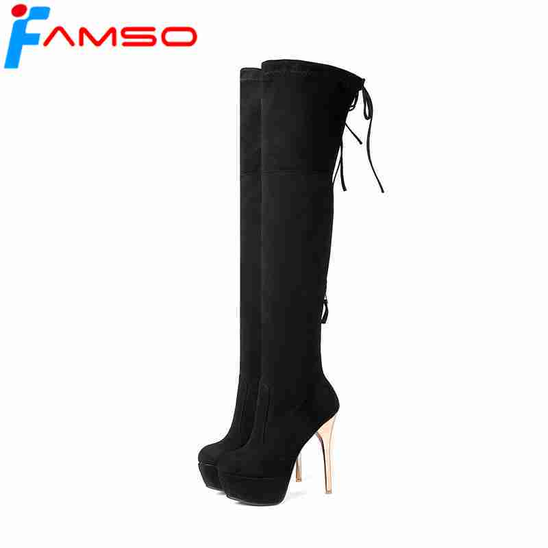 FAMSO Big Size 34 43 2018 Shoes For Women Gold Thin Heels Thigh High Boots Black Women's Winter Kid Suede Boots Fashion Shoes