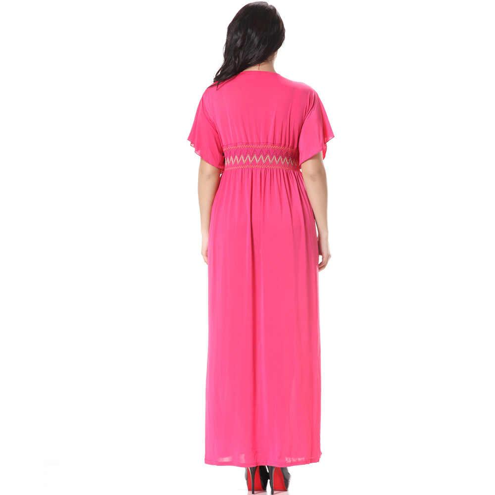Bãi biển Mùa Hè 2019 Boho Nữ Đầm Dài Đi Biển Cổ V Plus Kích Thước 6XL Xanh Màu Hồng Elbise Vestiti Donna estivi Áo Jurk