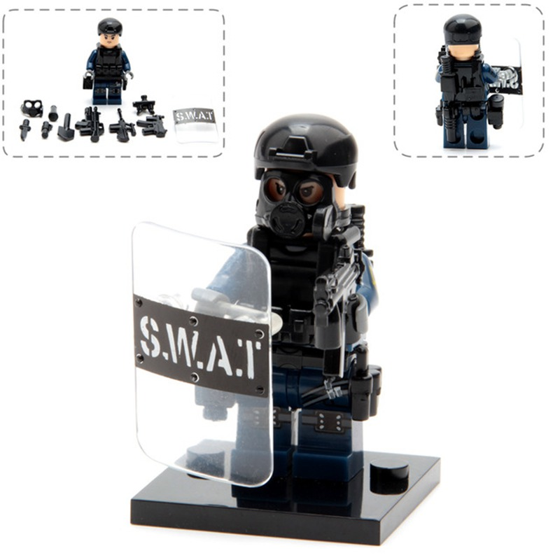 LEGOings City Police Military Swat Gun Weapons Army Soldiers Figure With Weapon Building Model Kits Children Toys Little+people