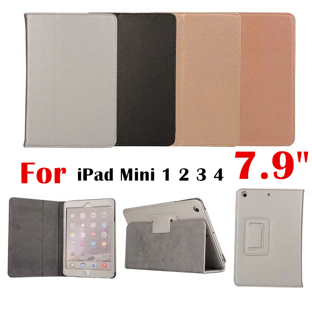 Mini2 mini3 mini4 Litchi Grain Flip Cover PU Leather Case For Apple iPad Mini 1 2 3 4 7.9 Tablet Case Protective shell +Gift lychee texture pu leather magnetic flip pouch protective case for ipad mini 2 3 white