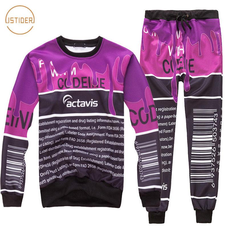 9ae7c546d04126 New Coffee Letter Actavis Print Sweat Suit Tracksuit Set Men Women Joggers  Pants & Hoodies 2 Piece Set Codeine Sudaderas Hombre