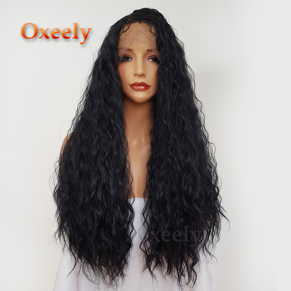 180 Density Water Wavy Black Hair Synthetic Lace Front Wigs with Baby Hair Glueless Synthetic Lace Front Wig for Black Women