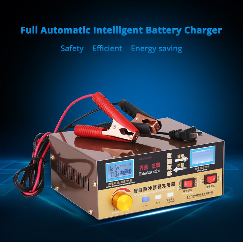 Car Battery Charger 12V 24V 6-400AH Motorcycle Battery Universal Automatic Charger for Lead-acid Battery 12v Lithium Battery