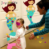 JOY ENLIFE DIY Felt Mermaid Party Game Birthday Party Decorations Kids DIY Craft Supplies Mermaid Party