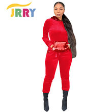 JRRY Sexy Woman Jumpsuit Korean Fleece Sequins With Hat Pocket(China)