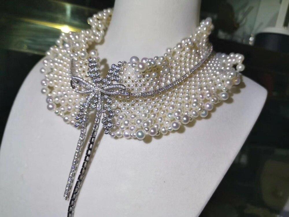 100% véritable perle d'eau douce collier dentelle 925 argent sterling noeud papillon collier ras du cou pour la fête de mariage fine femmes bijoux