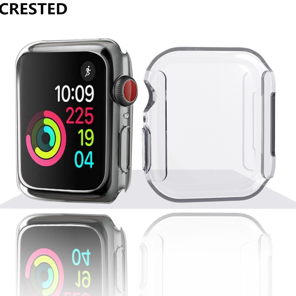 CRESTED Silicone soft case For Apple Watch series 4 44mm 40mm iwatch 3 2 1 42mm/38mm All-around Cover Ultra-thin Clear frame