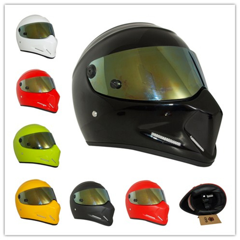 Mens Motorcycle Helmets Skull Star War Full Face Riding Helmet Gold-plated Lens Shield Helmet Capacete De Moto protective outdoor war game military skull half face shield mask black