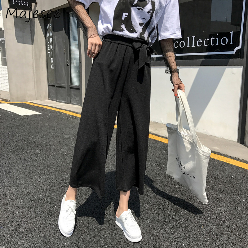 Retro BF Solid Color Summer Wide Leg Pants Harajuku Casual Loose Sashes Women Breathable Trousers Womens Students Korean Style