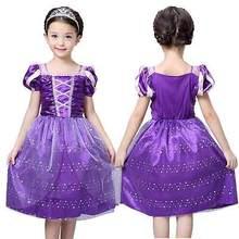 Girls Rapunzel Fancy Dress Costume Kids Princess Outfit UK Ages 3 4 5 6 7 8