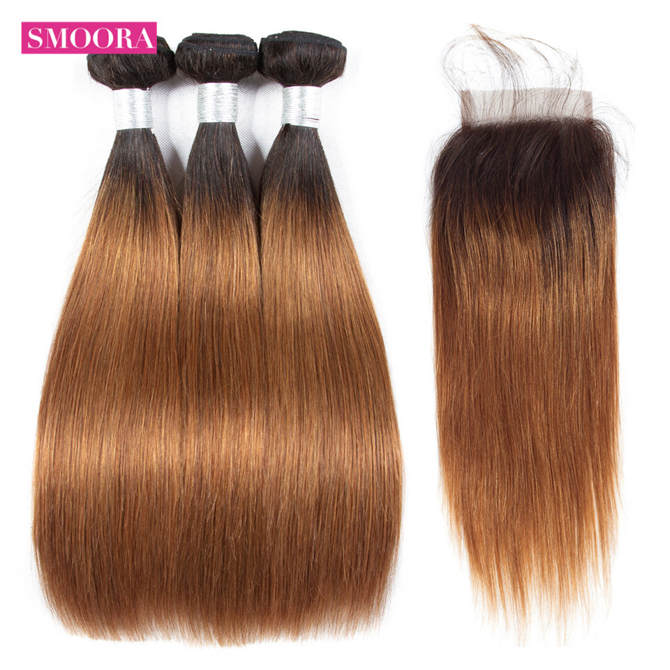 613 Blonde Bundles with Closure Ombre Brazilian Straight Honey Blonde Human Hair Bundle with Closure Free Part Remy Smoora Hair