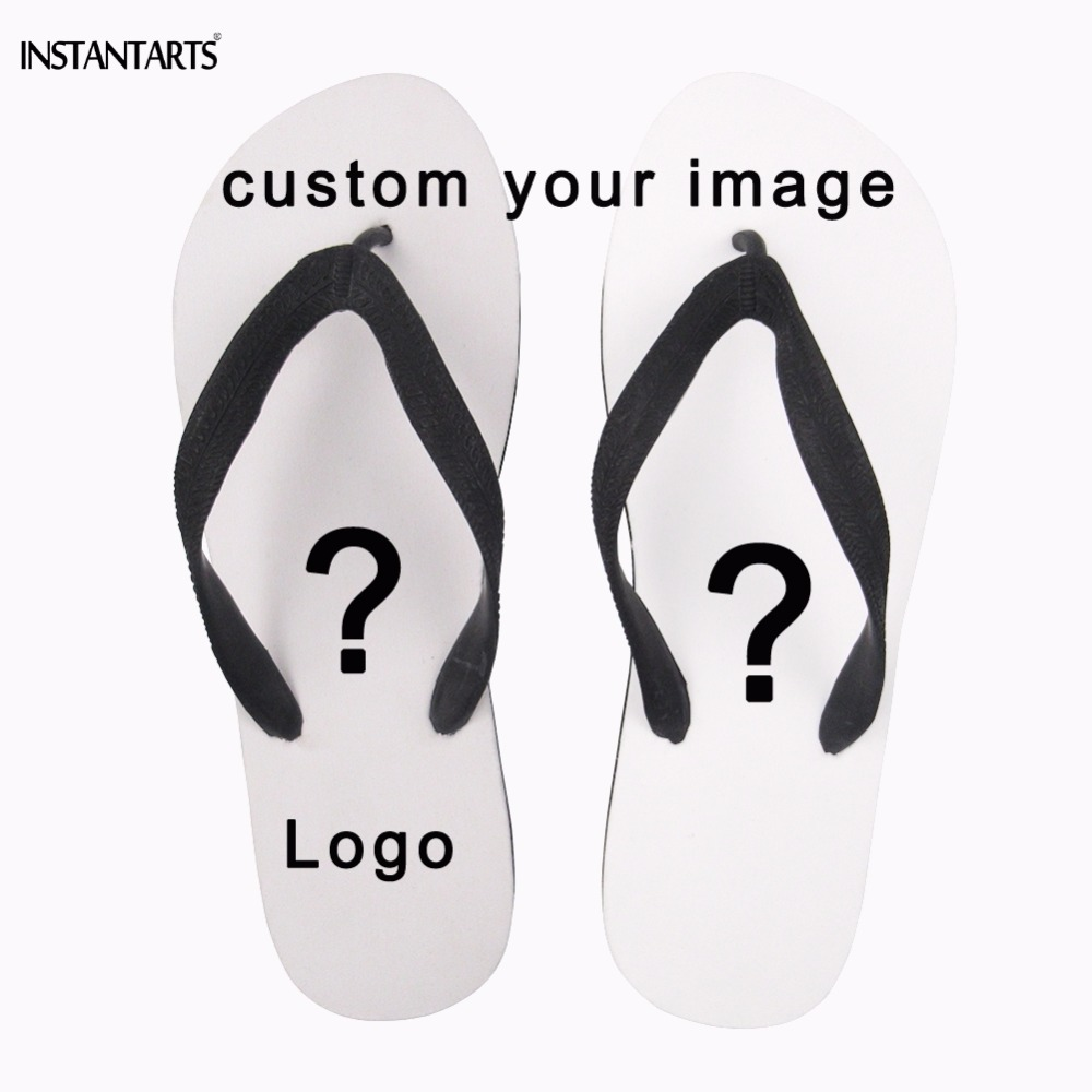 INSTANTARTS Customized Your Logo/Image/Photo Print Man Summer Flips Flops Diy Your Own Design Boys Casual Beach Sandals Slipper brown genuine leather menu holder restautant menu cover money receipt high quality accept customized order print your own logo